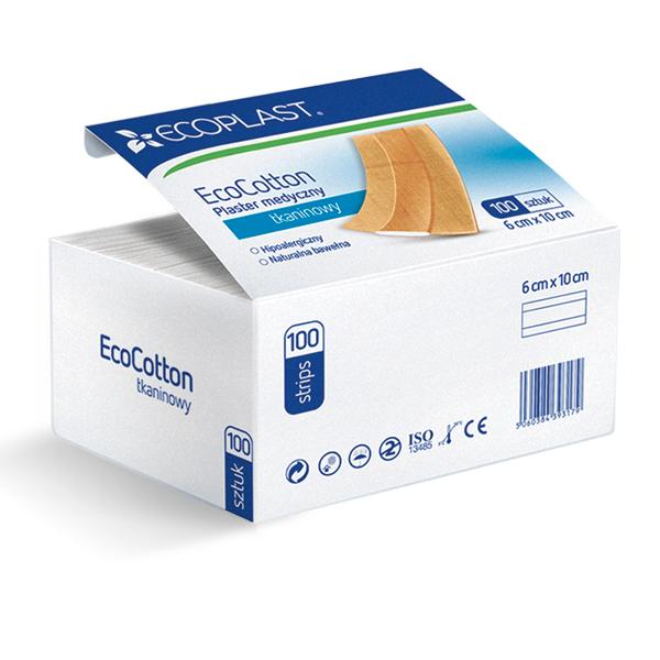 Plastry medyczne pakowane po 100 - EcoCotton - 6x10